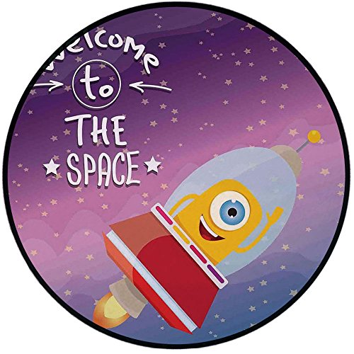 Printing Round Rug,Outer Space Decor,Welcoming Quote Print with Retro Mascot Vessel Traveling in Milky Way Mat Non-Slip Soft Entrance Mat Door Floor Rug Area Rug for Chair Living Room,Purple Blue