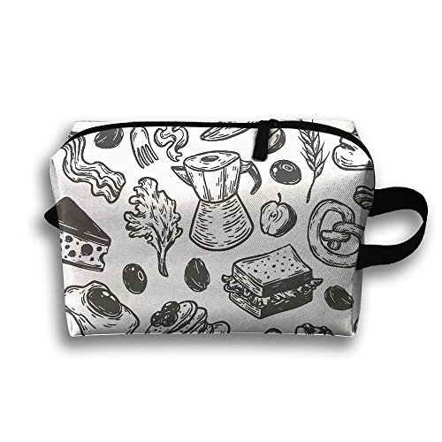 Breakfast Time Pattern Travel Bag Cosmetic Bags Brush Pouch Portable Makeup Bag Zipper Wallet Hangbag Pen Organizer Carry Case Wristlet Holder