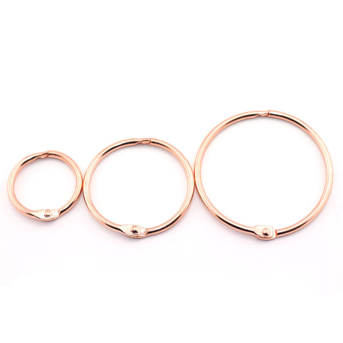 Lind Kitchen 50pcs 1'' 1.5'' 2'' Rose Gold Book Ring Assorted Kit Metal Loose Leaf Book Binder Hinged Buckle Rings Scrapbook Sketchbook Craft Photo Album DIY Binding Ring 25/38/51mm by Lind Kitchen