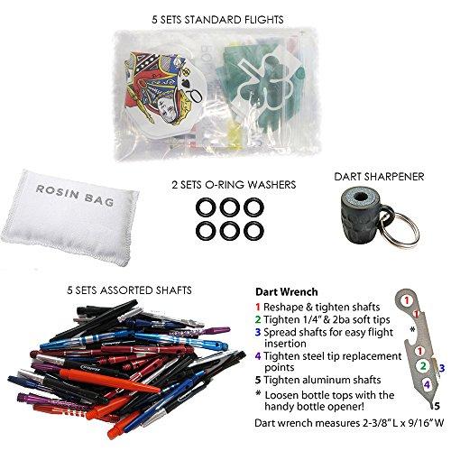 Soft and Steel Tip Dart Accessory Kits - Flights, Shafts, Dart Tool, Rosin Bag, O-Rings (Steel Tip) (Shafts Dart Flights)