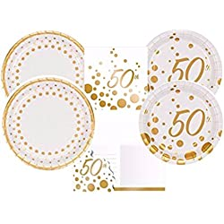 Sparkle & Shine Gold 50th Anniversary Party Supplies Kit Including Dinner Plates, Dessert Plates & Napkins and Invitations for 16 Guests