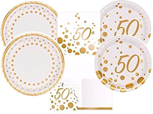 Sparkle & Shine Gold 50th Anniversary Party Supplies Kit Including Dinner Plates, Dessert Plates & Napkins and Invitations for 16 - Supplies Party Anniversary 50th