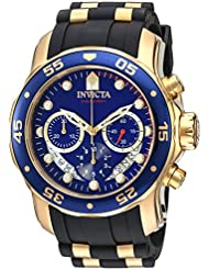 Invicta Mens Pro Diver Quartz Stainless Steel and Silicone Watch, Color:Black (Model: 21929)