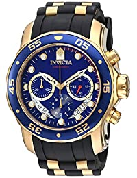 Invicta Men's 'Pro Diver' Quartz Stainless Steel and Silicone Automatic Watch, Black (Model: 21929)