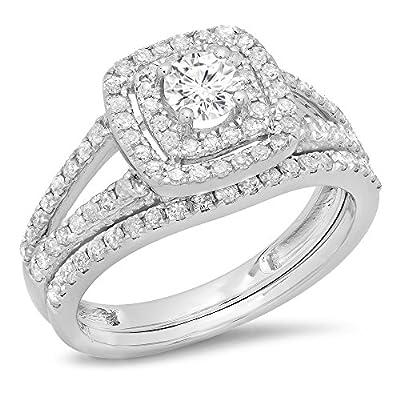 IGI CERTIFIED 1.00 Carat (ctw) 10K White Gold Round Diamond Bridal Halo Engagement Ring Set 1 CT