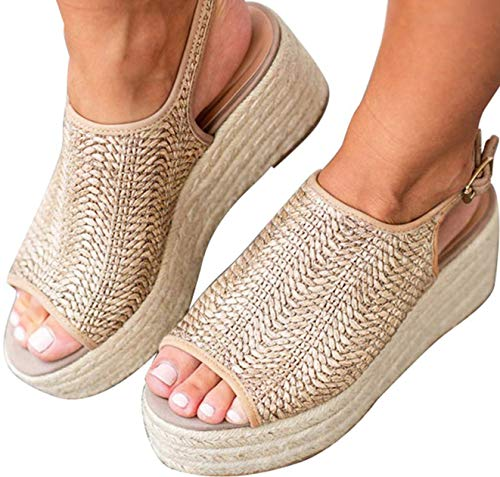 (Snowchers Womens Espadrilles Platform Wedge Buckle Woven Peep Toe Sandals Beige US 7.5 )