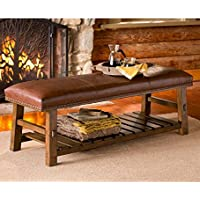 Canyon Leather Bench with Shelf