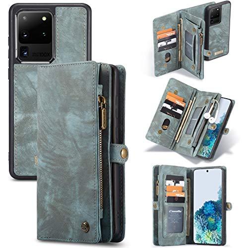 Simicoo Samsung S20 Plus Wallet Leather Case Detachable Magnetic Zipper Flip Case 11 Card Slots Holder Wrist Strap Handle Shockproof Cover Pocket Wallet Handbag for S20 Plus (Blue, S20 Plus)