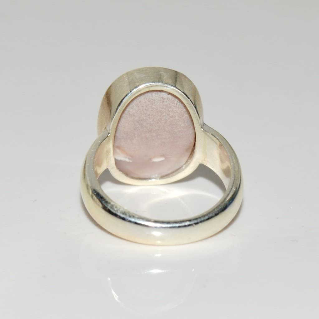 Jewelryonclick 5.5 Carat Natural Opal Sterling Silver Simple Ring For Men Size 5,6,7,8,9,10,11,12,13
