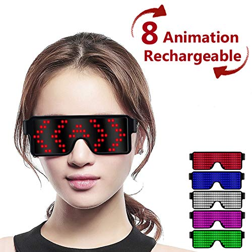 Fancy LED Light up Glasses, USB Rechargeable&Wireless with Flashing LED Display, can Work 6 Hours, Have 8 Dynamic Patterns, Glowing Luminous Glasses for Christmas,Party,Bars,Rave,Festival,etc. (Red)