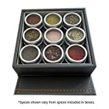 Organic Starter Spice Set with Box, Magnetic Tins + 9 Organic Spices (#1 Essential Spice Kit): Pink Salt, Pepper, Garlic, Onion, Italian Blend, Lemon Pepper, Red Chili Flakes, Parsley, Honey Crystals