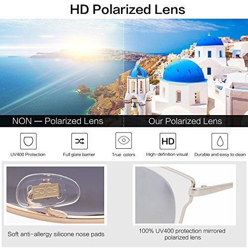 308c45ff2788 SOJOS Fashion Polarized Sunglasses for Women UV400 Mirrored Lens SJ1057  with Silver Frame Crystal Silver Mirrored Lens - SJ1057C3   Sunglasses    Clothing