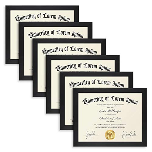 (Icona Bay 8.5x11 Diploma Frame (6 Pack, Black), Black Sturdy Wood Composite Certificate Frame, Document Frame Bulk, Wall or Table Mount, Set of 6 Exclusives Collection)