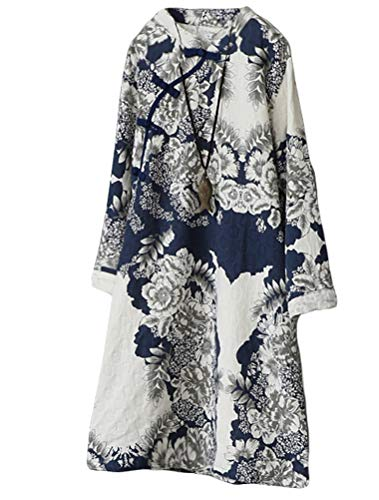 Minibee Women's A-Line Dress Ethnic Floral Print Dresses Long Sleeve Retro Linen Tunic XL Blue (Dresses Chinese Chinese Dress)