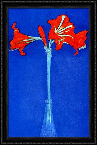 (Amaryllis 26x40 Large Black Ornate Wood Framed Canvas Art by Piet)