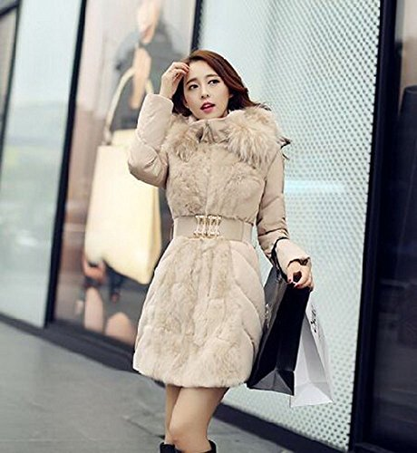 WHITE Parka White M S Collar Women Elegant Hot M Long Down Winter Hooded Fur Super Coat Jacket xTOn6v7Zwq