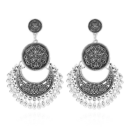 (BaubleStar Antique Silver Vintage Dangle Bohemian Crescent Moon Beaded Tassel Earrings Boho Chic Coin Drop Statement Jewelry for Women Girls BAN0076)