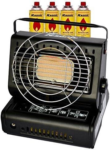 RSonic Calefacción de Gas Cerámica Radiador de Gas 1,3 kW Calefactor Camping con Barbacoa + Estufa Cocina de Gas 2 en 1 Adaptador para Bombonas de Gas ...