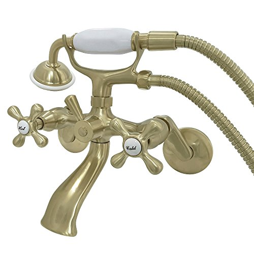 Kingston Brass KS266SB Kingston Wall MountClawfoot Tub Faucet, 7-3/16