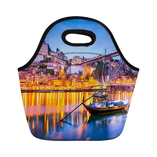 Semtomn Neoprene Lunch Tote Bag Night Porto Portugal Old Town Skyline Douro River Oporto Reusable Cooler Bags Insulated Thermal Picnic Handbag for Travel,School,Outdoors, Work ()