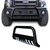 Black Heavyduty Bull Bar Push Bumper Protector with Removable Skid Plate (04-14 Ford F-150/03-15 Expedition)