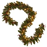 mantel christmas decorations National Tree 9 Foot by 10 Inch Crestwood Spruce Garland with 50 Warm White Battery Operated LED Lights (CW7-306-9A-B1)