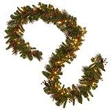 "mantel christmas decorations National Tree Crestwood Spruce Garland, 9' x 10"", Green"
