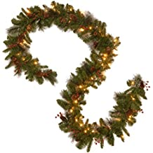 "National Tree 9' x 10"" Crestwood Spruce Garland with 50 Battery Operated Warm White Lights and Timer (CW7-306-9A-B1)"