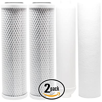 2-Pack Replacement Filter Kit for APEC ROES-50 RO System - Includes Carbon Block Filters, PP Sediment Filter & Inline Filter Cartridge - Denali Pure Brand