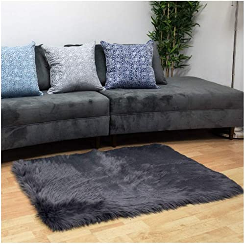 Homey Cozy Faux Fur Sheepskin Area Rug, Super Soft Modern Shag Furry Floor Mat Fluffy Accent Carpet 2.5ft x 4ft,Gray