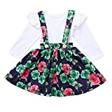 Little Girls Skirt Set Kids Girls Ruffle T-Shirts Top Floral Overall Skirt Outfit Clothes Gifts (Age: 3-4 Years, White)