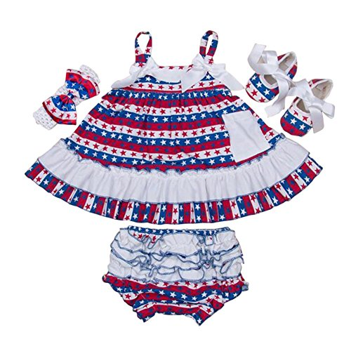 [JULY 4th Baby-Girls KID Ruffle Skirt Pageant Party Dress 4PCS Baby Sets Shoes Headband pp Short Pants (M(6-12M))] (4th Of July Costumes For Toddlers)