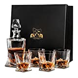 Van Daemon Crystal Whisky Decanter (750ml) and Set of 4 Glasses (300ml). Lead Free Crystal 'Tasman Twist for Spirits, Bourbon or Scotch. Perfectly Gift Boxed.