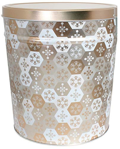 C.R. Frank Popcorn - Gourmet Popcorn Tin, 3.5 Gallon, Shining Snowflakes (2 Way, Butter and Cheese) ()