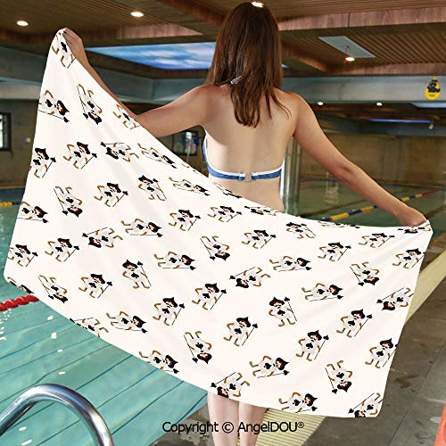 Large Gym Sport Swimming Pool Towel Trendy Alice Card Soldier Heart Fantastic Adventure World Wonderland Decor Microfiber Beach Towel Women Men.W19.6xL39.3(inch)
