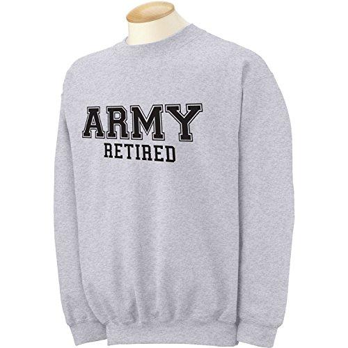 (zerogravitee Army Retired Black logo Military Style PT Crewneck Sweatshirt in Gray - Large)