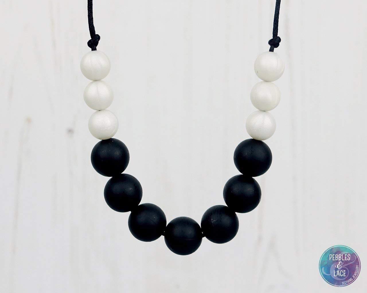 Nursing Necklace. Babywearing Fiddle Beads. UK Handmade - MIDNIGHT PEARL: BUBBLES