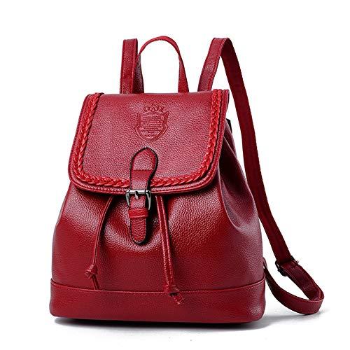 Estilo universitario Backpack Vino verano Lady Tinto Mochila simple viaje hombro Pu Wild Moda de de Bolso de Leisure Bags de Mochila Travel 2018 wZZa1xqX