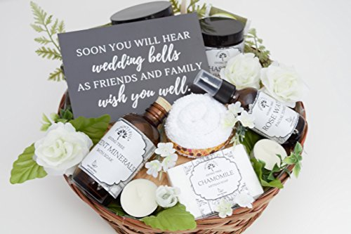 Bride Gift Basket (Engagement Gift Basket, Bridal Shower Gift, Bride to Be Gift, Congratulations Gift, Gift Basket for Her, Gift Basket for Women, Spa Gift, Spa Kit, Gift Set for Her, Organic Skincare Gift Basket)