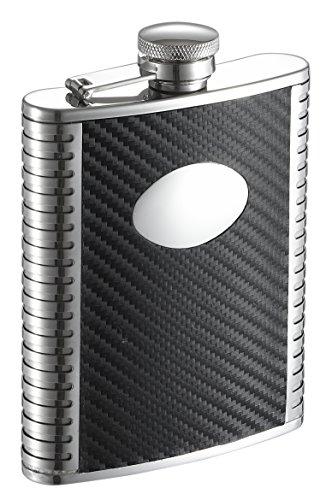 Visol Monte Carbon Fiber Leather Liquor Flask, 6 oz, Black ()