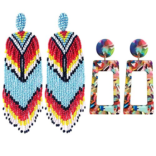 Tassel Statement Earrings, Siteer 4PCS Beaded Drop Earring 1PC Gift Box Statement Earrings Tassel Earring for Handmade Bohemian Beaded Round Drop Earrings Gift for Women Girls (Multi-color) ()