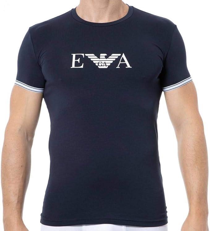 Emporio Armani Athletics Short Sleeve Crewneck T-Shirt Pijama - Parte de Arriba, Azul Marino, S para Hombre: Amazon.es: Ropa y accesorios