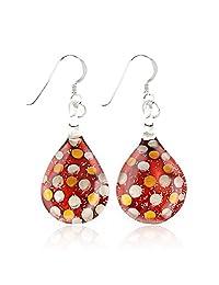 """Sterling Silver Hand Blown Venetian Murano Glass Glitter Polka Dots Teardrop Dangle Earrings 1.7"""""""