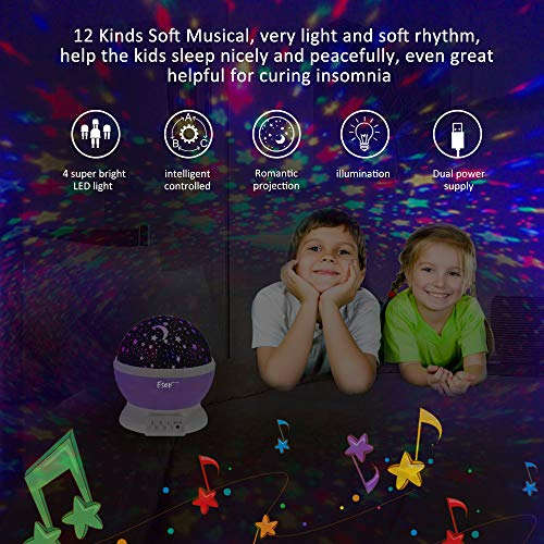 [Update]Esonstyle Musical Night Light,360 Rotating Star Lamp Baby Musical Lamp with Rechargeable Battery,12 Songs to Relax for Sleep Kids Babies Birthday Children Day Christmas Gift by esonstyle (Image #3)