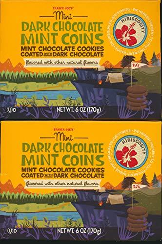 Trader Joe's Mini Dark Chocolate Mint Coins (pack of 2) Mint Chocolate Cookies Coated with Dark Chocolate