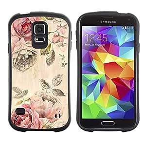 "Hypernova Slim Fit Dual Barniz Protector Caso Case Funda Para Samsung Galaxy S5 [Rose rústica Wallpaper floral Rose""]"