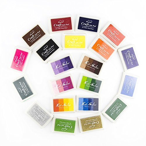 Craft Ink Pad, ArtCastle 21 Colors Stamp Pad Set, Kids, DIY, Rainbow, Finger Print, Washable