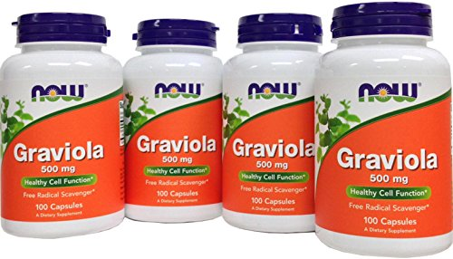 NOW Foods Graviola, 500mg 4 packs of 100 Capsules