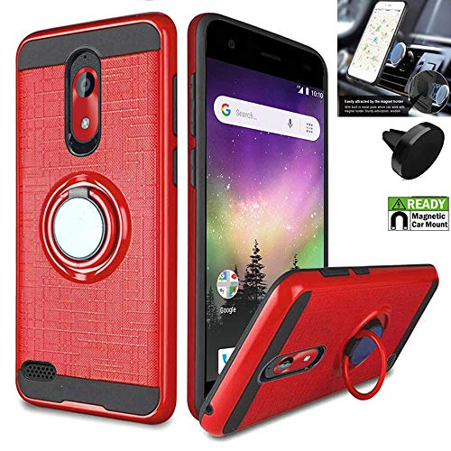 (Compatible with Coolpad Legacy-Go Case/Illumina Case Car Mount + Shock Absorbing Slim Cover Ring-Holder (Slim Ring Red +Car Mount))