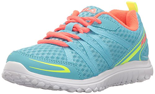 Image of Fila Girls' FLYVER Skate Shoe, Bluefish/Safety Yellow/Fiery Coral, 4.5 M US Big Kid